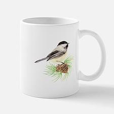 Chickadee Bird on Pine Branch Mugs