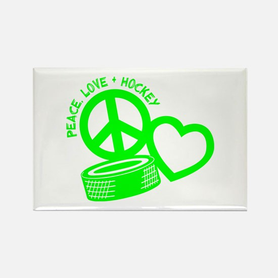 Peace-Love-Hockey Rectangle Magnet Magnets
