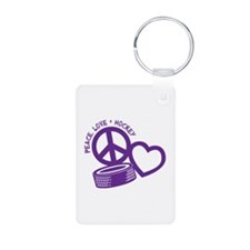 PEACE-LOVE-HOCKEY Keychains