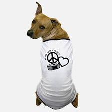 PEACE-LOVE-HOCKEY Dog T-Shirt