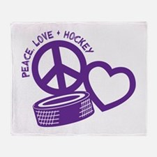 PEACE-LOVE-HOCKEY Throw Blanket