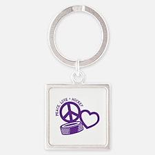 PEACE-LOVE-HOCKEY Square Keychain