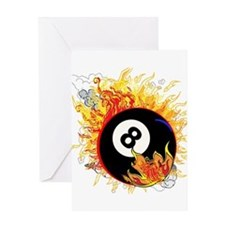 Fiery Eight Ball Greeting Cards