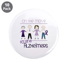 """ON THE MOVE TO END ALZHEIMERS 3.5"""" Button (10 pack"""