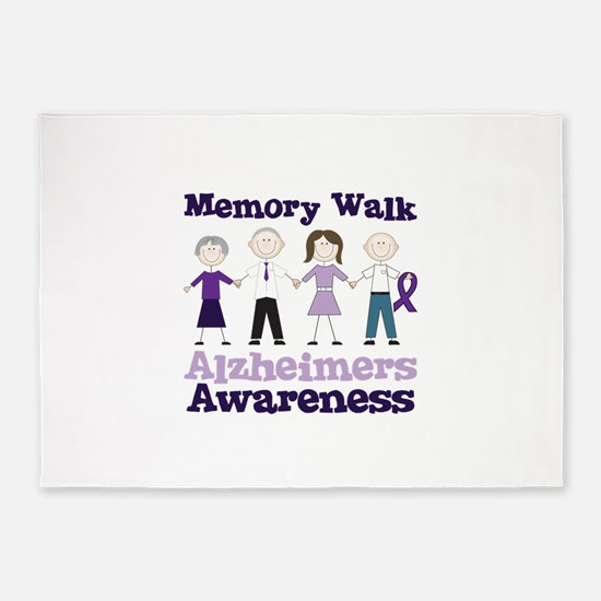 Memory Walk ALZHEIMERS AWARENESS 5'x7'Area Rug
