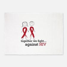 Together We Fight Against HIV 5'x7'Area Rug