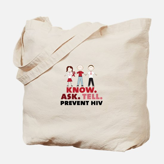 Know.Ask.Tell.Prevent HIV Tote Bag