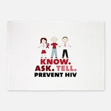 Know.Ask.Tell.Prevent HIV 5'x7'Area Rug