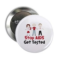 "Stop Aids Get Tested 2.25"" Button (100 pack)"