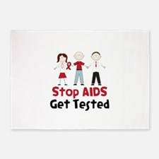 Stop Aids Get Tested 5'x7'Area Rug