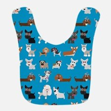 Dog Breeds on Blue Background Bib