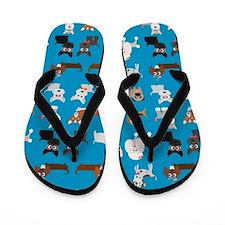 Dog Breeds on Blue Background Flip Flops
