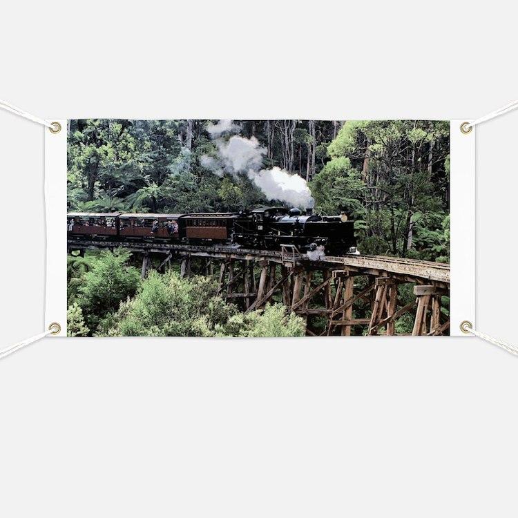 Old Narrow Gauge Steam Train on Trestle Bri Banner