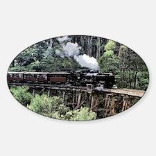 Old Narrow Gauge Steam Train on Tre Sticker (Oval)