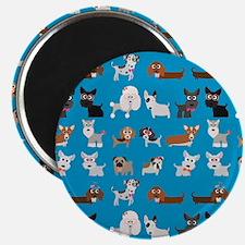 Dog Breeds on Blue Background Magnet