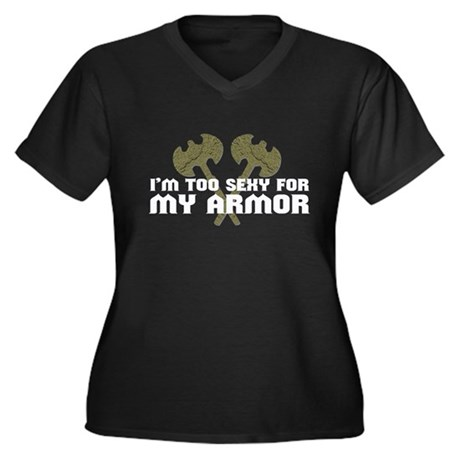 Too Sexy for Armor Plus Size V-Neck Dark Shirt