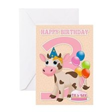 3rd Birthday Cow & Cake Card Greeting Cards