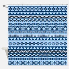 Aztec Influence Blues Black White Shower Curtain