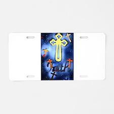 crosses with faith dark Aluminum License Plate