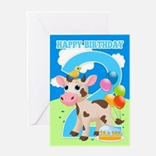 2nd Birthday Cow & Cake Card Greeting Cards