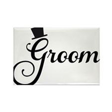 Groom text design with hat Magnets