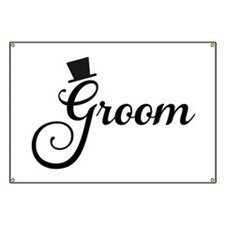 Groom text design with hat Banner