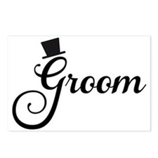 Groom text design with hat Postcards (Package of 8