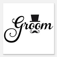 """Groom with hat and mustache Square Car Magnet 3"""" x"""