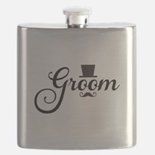 Groom with hat and mustache Flask