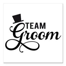 """Team Groom with hat Square Car Magnet 3"""" x 3"""""""