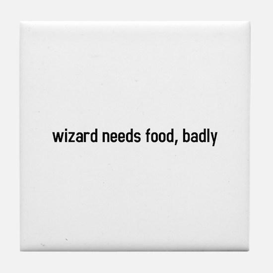 wizard needs food, badly Tile Coaster