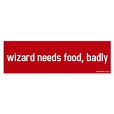 wizard needs food, badly Bumper Car Car Sticker