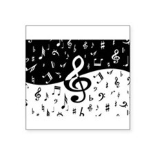 """Funny Musical notes black Square Sticker 3"""" x 3"""""""