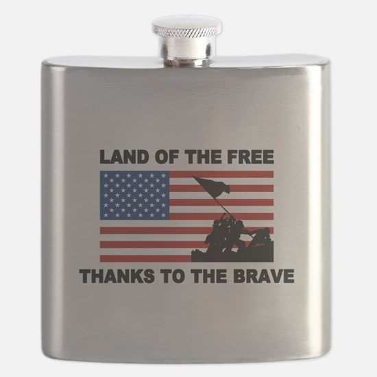 Land Of The Free Thanks To The Brave Flask