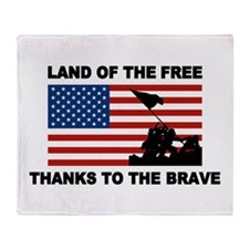 Land Of The Free Thanks To The Brave Throw Blanket