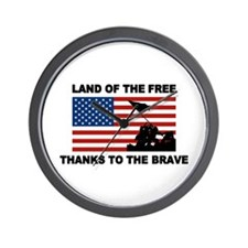 Land Of The Free Thanks To The Brave Wall Clock