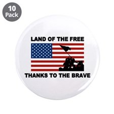 """Land Of The Free Thanks To The Brave 3.5"""" Button ("""