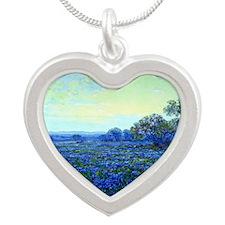 Onderdonk - Field of Bluebon Silver Heart Necklace