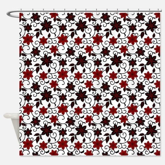 Oriental red black and white sakura pattern Shower