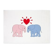 Valentine Elephants 5'x7'Area Rug