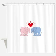 Valentine Elephants Shower Curtain