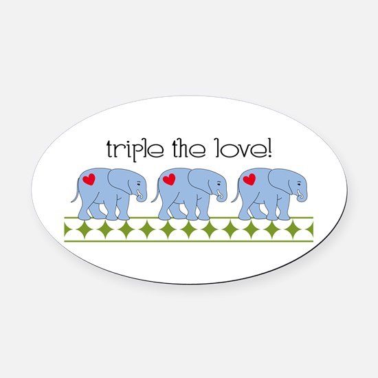 Triple The Love! Oval Car Magnet