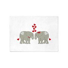 Two Valentine Elephants 5'x7'Area Rug
