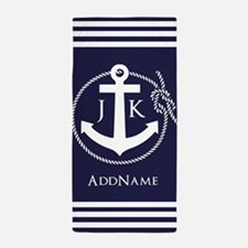 Nautical Rope and Anchor Monogram Beach Towel