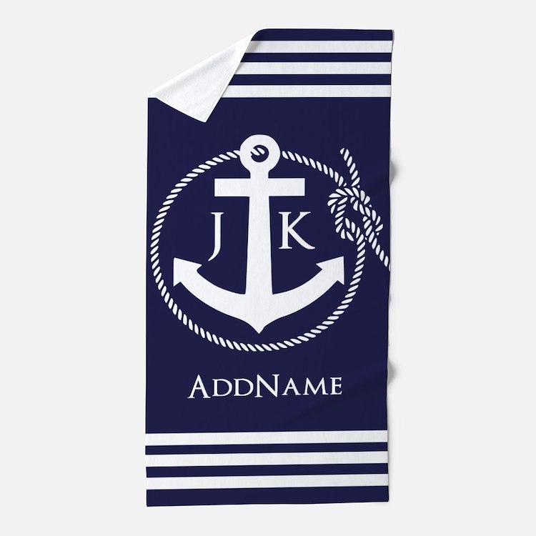 Nautical Rope and Anchor Monogram Beach Towel