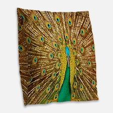 Peacock Burlap Throw Pillow