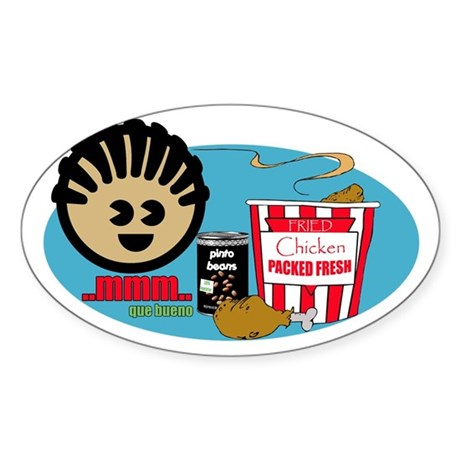 Fried Chicken and Beans Oval Sticker