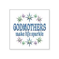 "Godmothers Sparkle Square Sticker 3"" x 3"""