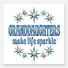 "Granddaughters Sparkle Square Car Magnet 3"" x 3"""