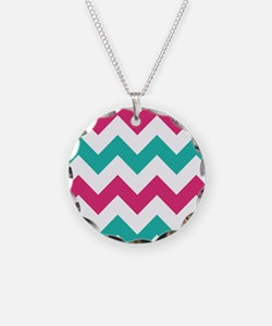 Hot Pink Turquoise Chevron Necklace